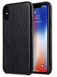 Melkco Leather Backcover iPhone XS hoesje Zwart