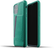 Mujjo Leather Wallet iPhone 11 hoesje Groen