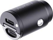 Aukey 30 watt 2 poort USB-C auto oplader