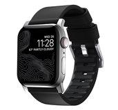 Nomad Active Pro Leather Apple Watch 45 / 44 / 42 mm bandje Zwart Zilver