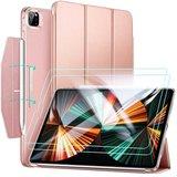 ESR Yippee iPad Pro 12,9 inch 2021 hoesje + glazen screenprotector Rose