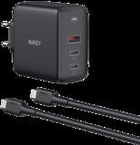 Aukey 90 watt 3 poort USB-C thuis oplader met USB-C kabel