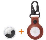 Apple AirTag 1 stuk + Decoded Leather Dogclip hanger knaldeal bruin