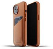 Mujjo Leather Wallet iPhone 13 hoesje Tan