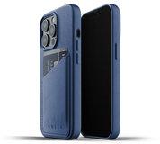 Mujjo Leather Wallet iPhone 13 Pro hoesje Blauw