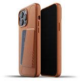 Mujjo Leather Wallet iPhone 13 Pro Max hoesje Tan