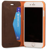 Knomo Premium Leather Folio iPhone 7 hoesje Brown