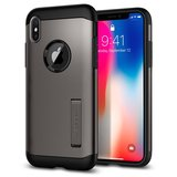 Spigen Slim Armor iPhone X hoesje Gun Metal