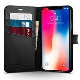 Spigen Wallet iPhone X hoesje Zwart