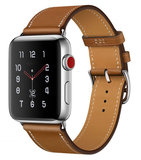 TechProtection Leather Apple Watch 44 / 42 mm bandje Lichtbruin