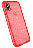 Speck Presidio Clear Glitter iPhone X hoesje Rood
