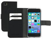 Mobiparts Saffiano Wallet iPhone SE / 5S hoesje Zwart