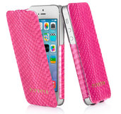 Pipetto Leather Skinny Flip iPhone 5/5S Snakeskin Pink
