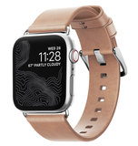 Nomad Modern Leather Apple Watch 40 / 38 mm bandje Natural / Zilver
