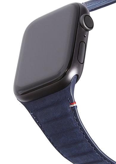 Decoded Traction Leather Apple Watch 44 mm bandje Blauw