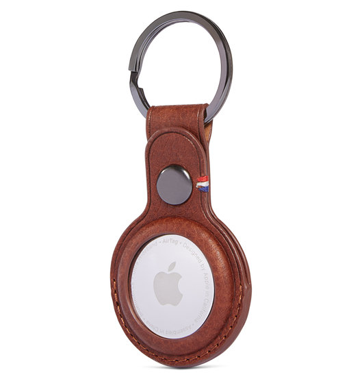 Decoded Leather KeyChain AirTag hoesje Bruin