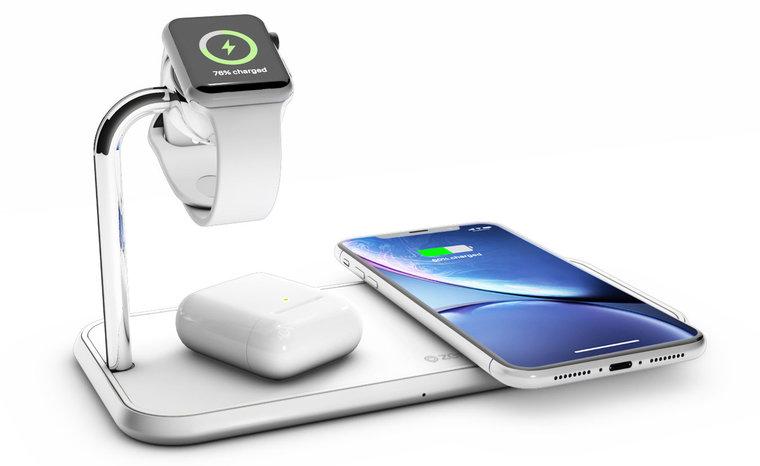 ZENS Dual + Watch Aluminium draadloze oplader 20 watt Wit