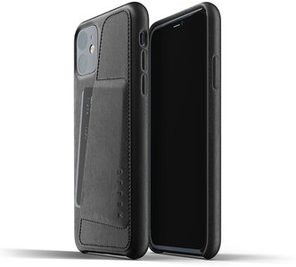 Mujjo Leather Wallet iPhone 11 hoesje Zwart