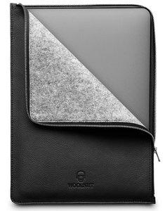 Woolnut Leather Folio MacBook Pro 16 inch hoesje Zwart