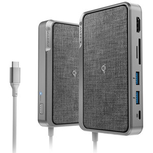Alogic Ultra Wave 3 in 1 USB-C dock + draadloze oplader Grijs