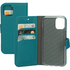 Mobiparts Saffiano Wallet iPhone 12 Pro / iPhone 12 hoesje Turquoise