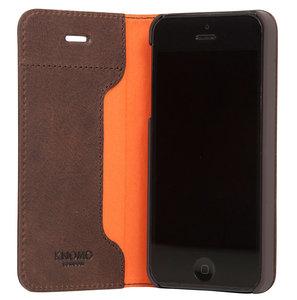 brand new 7f13b 6b151 Knomo Leather Folio iPhone SE/5S hoesje Brown