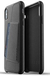 Mujjo Leather Wallet iPhone XS Max hoesje Zwart