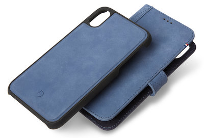 Decoded Leather 2 in 1 Wallet iPhone XS Max hoes Blauw