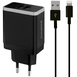 Mobiparts Dual USB Thuislader 4,8A + Lightning kabel Zwart