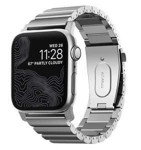 Nomad Titanium Apple Watch 44 / 42 mm bandje Zilver